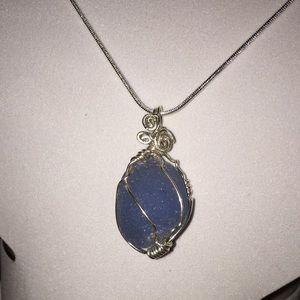 Sterling Silver Rare Cornflower Blue Sea Glass